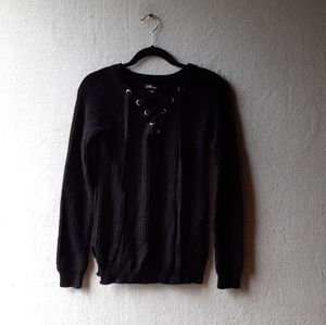 Lace Up Black Long Sleeve Sweater